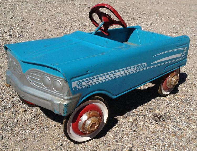 vintage original Blue Western Flyer Pressed Steel pedal car