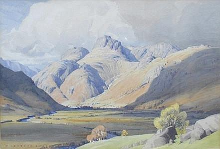 William Heaton Cooper (1903-1995) Autumn In Langdale, a Lakeland scene, in watercolours, signed, 54.5cm x 37cm, in card mount, framed under glass.