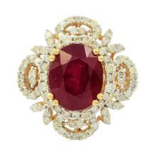 5.47ct Ruby and 0.94ctw Diamond Ring