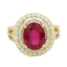 3.70ct Ruby and 0.74ctw Diamond Ring