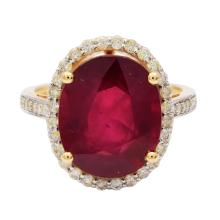 8.40ct Ruby and 0.44ctw Diamond Ring