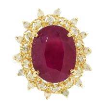 7.84ct Ruby and 0.54ctw Diamond Ring