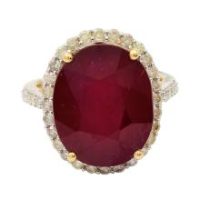 16.60ct Ruby and 0.72ctw Diamond Ring
