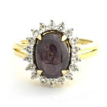 5.45ct Star Ruby and 0.53ctw Sapphire Ring