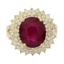 4.67ct Ruby and 1.66ctw Diamond Ring