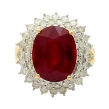 10.36ct Ruby and 2.07ctw Diamond Ring