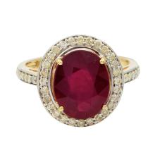 4.67ct Ruby and 0.44ctw Diamond Ring