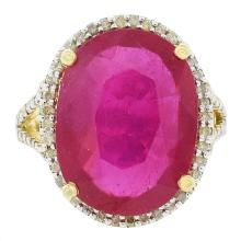 13.21ct Ruby and 0.73ctw Diamond Ring