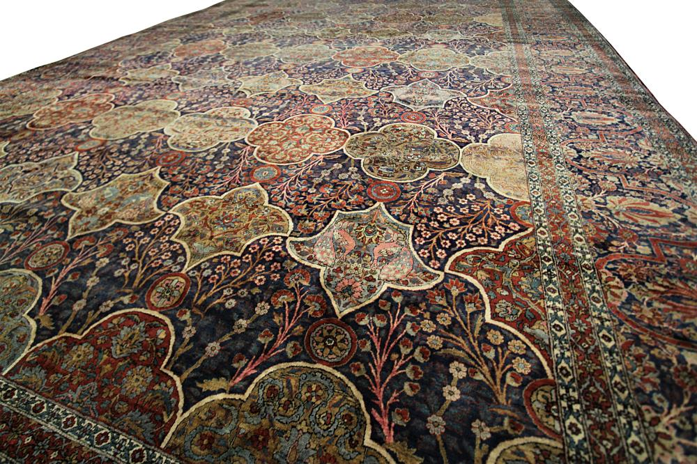 Sold Price Antique Persian Mohtasham Kashan Rug Manchester Wool Bird 12x19 Garden Blue C1880 September 2 0119 3 00 Pm Edt