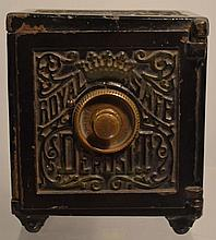 19TH CENT. VICTORIAN PAINTED CAST IRON ROYAL SAFE DEPOSIT COMBINATION SAFE TOY BANK