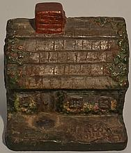 EARLY 20TH CENT. PAINTED CAST IRON HARLOW HOUSE 1677 DOOR STOP