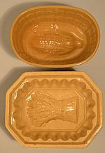 (2) 19TH CENT. YELLOW WARE FOOD MOLDS INC. WHEAT AND CORN PATTERNS