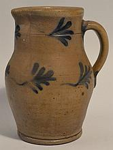 19TH CENT. PA. REMMY TYPE DECORATED STONEWARE PITCHER