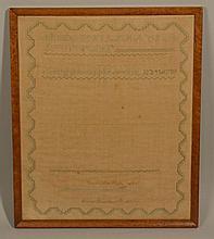 1824 BOSTON (MA.?) - NEEDLEWORK SAMPLER WROUGHT BY GERUSHA ANN WRIGHT