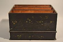 19TH CENT. PAINT DECORATED VERTICAL FILE OR CANTERBURY WITH DRAWER