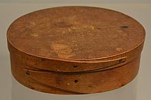 19TH CENT. N.E. FINGER BANDED OVAL PANTRY BOX
