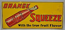 VINTAGE ORANGE SQUEEZE TIN LITHOGRAPH ADVERTISING SIGN