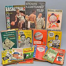 BOX LOT OF VINTAGE BOOKS AND MAGAZINES ABOUT SPORTS