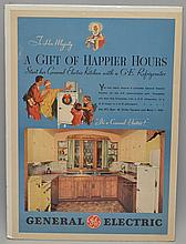 1933 GENERAL ELECTRIC CHRISTMAS SEASON KITCHEN APPLIANCE ADVERTISING POSTER