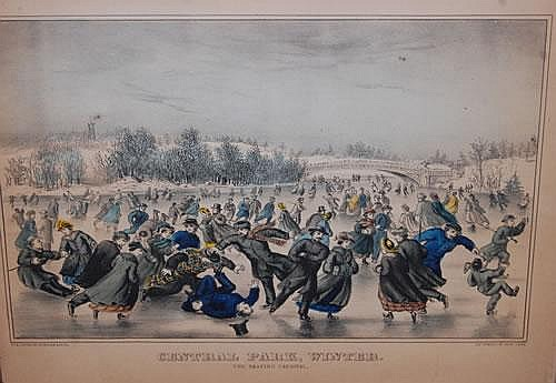 19TH CENT. CURRIER & IVES CENTRAL PARK WINTER-THE SKATING CARNIVAL PRINT