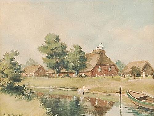 Louis Aston Knight European Farm Landscape Watercolor Painti