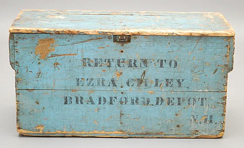 1901 PAINTED & STENCILED BRADFORD DEPOT NH ADVERTISING CRATE