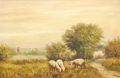 HANSON OIL PAINTING OF SHEEP IN A PASTURE