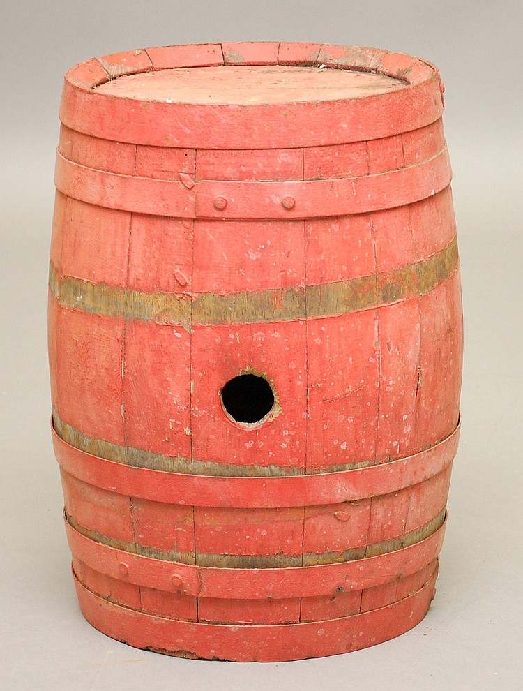 19TH CENT. NEW ENGLAND PAINTED BANDED WOODEN BARREL