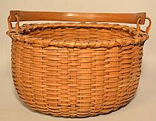19TH CENT. N.E. WOVEN SPLINT GATHERING BASKET