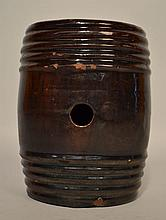 18TH CENT. N.E. REDWARE RUNDLET KEG