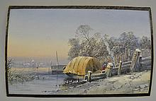 1863 G. J. KNOX CONTINENTAL WATER COLOR AND GAUCHE PAINTING OF A PEASANT WOMAN AND HER TENTED BOAT DWELLING