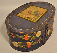 19TH CENT. PAINT DECORATED CONTINENTAL BANDED OVAL BRIDES BOX OR GIFT BOX
