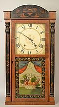 19TH CENT. HENRY C. SMITH DECORATED SPLIT COLUMN SHELF CLOCK WITH REVERSE PAINTING ON GLASS TABLET
