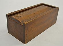 (27) 19TH CENT. EBONY AND BONE DOMINOES IN A MAHOGANY SLIDE TOP BOX