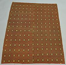 19TH CENT. N.E. RED AND TAN HOMESPUN COVERLET