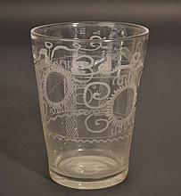 18TH CENT. ETCHED STIEGEL TYPE CLEAR FLIP GLASS