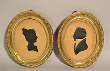 (2) EARLY 19TH CENT. HIGHLIGHTED CUT PAPER SILHOUETTE PORTRAITS OF JOHNATHAN AYER SAWYER AND ABIGAIL HOIT SAWYER