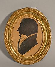 18TH CENT. - EARLY 19TH CENT. HIGHLIGHTED CUT PAPER SILHOUETTE PORTRAIT OF JOHNATHAN HOIT