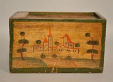 19TH CENT. CONTINENTAL SLIDE TOP BOX WITH PAINTED LANDSCAPE DECORATIONS