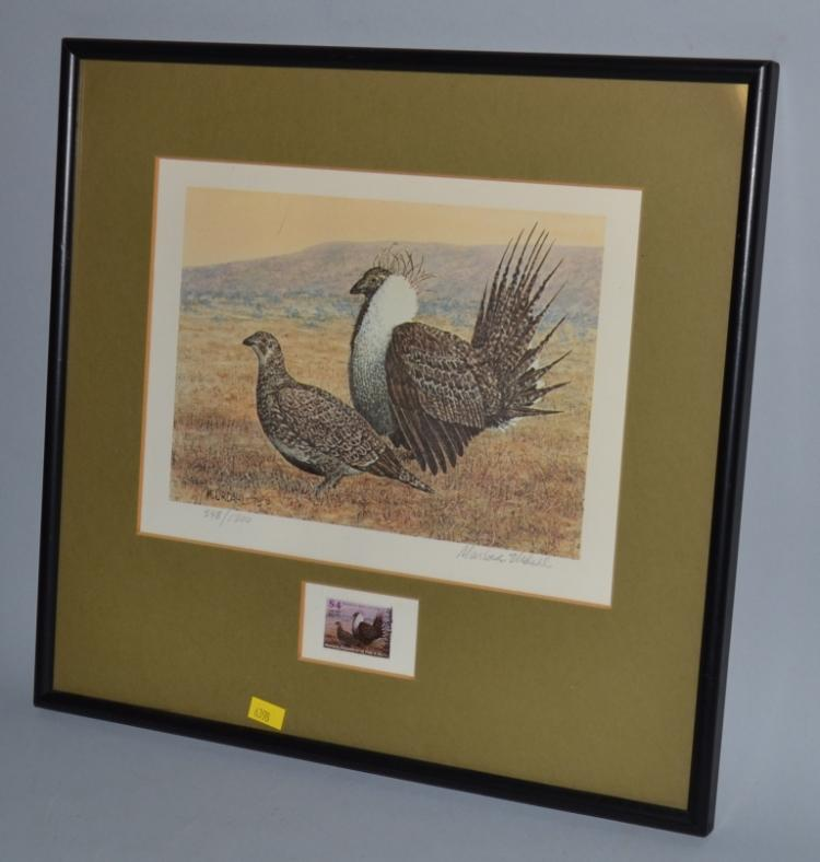 Framed Montana Dept Of Fish And Game Stamp And Numbered Pri