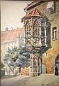 FRIEDRICH TROST CITY LANDSCAPE WATERCOLOR PAINTING, Friedrich (1844) Trost, Click for value