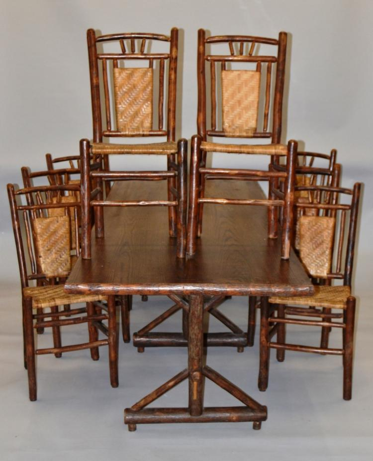 2004 American Signature Furniture Dining Table Sets Asian Style: OLD HICKORY ADIRONDACK STYLE 9 PIECE DINING ROOM SET WITH 8