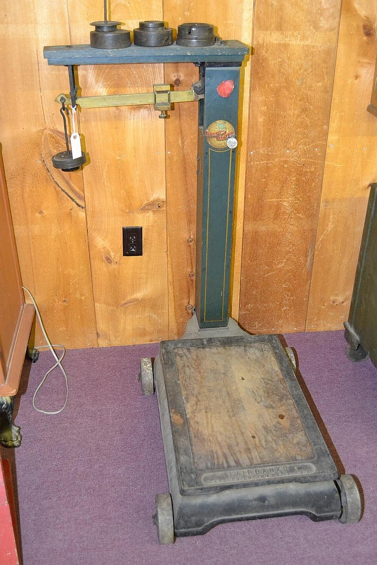 19TH CENT. FAIRBANKS 500 LB. CAPACITY ROLLING PLATFORM CARGO SCALE