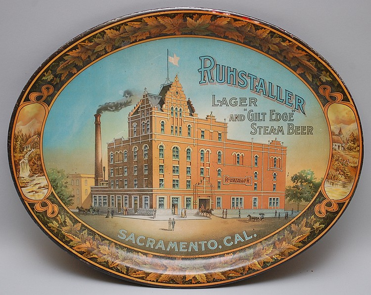 "ORIGINAL 16 1/2"" RUHSTALLER BEER ADVERTISING SERVING TRAY"