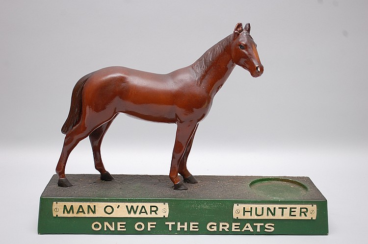 VINTAGE HUNTER WHISKEY FIGURAL HORSE COUNTER TOP ADVERTISING FIGURE