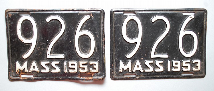 PR. 1953 MASSACHUSETTS MOTORCYCLE LICENSE PLATES