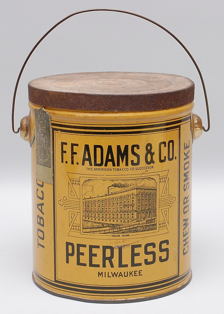 F.F. ADAMS & CO. PEERLESS TOBACCO ADVERTISING TIN PAIL