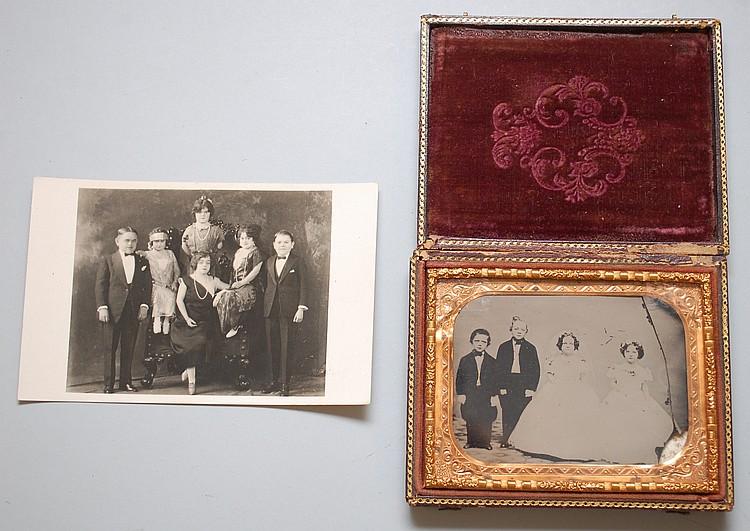 (2) MISC. PHOTOGRAPHS OF MIDGETS INCLUDING WEDDING AMBROTYPE