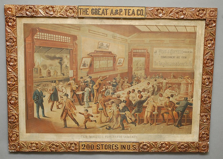 FRAMED 1886 GREAT ATLANTIC & PACIFIC TEA CO. ADVERTISING SIGN
