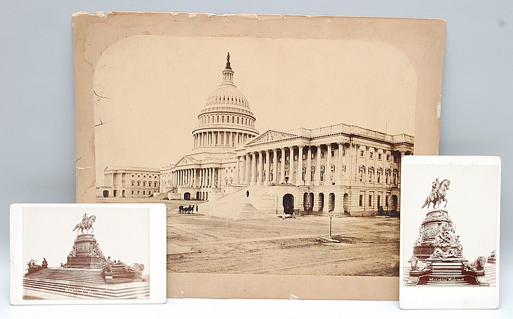 19TH CENT. U.S. CAPITOL MOUNTED ALBUMIN PHOTOGRAPH & (2) CABINET PHOTOS OF WASHINGTON STATUE IN PHILADELPHIA